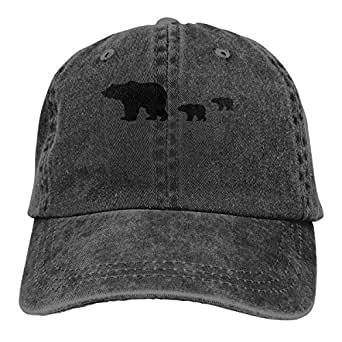 Grizzly Bear Lightweight Unisex Baseball Caps Adjustable Breathable Sun Hat for Sport Outdoor Black