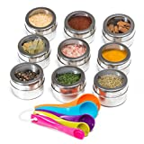 Nellam Spice Rack Magnetic Storage Jars for Spices - 9pcs Stainless Steel ...