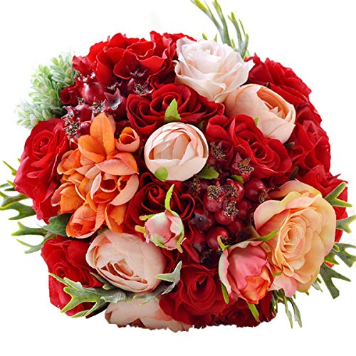 Abbie Home Real Touch Flowers Bouquets Rose Bridal Ribbon Crystal Decor Wedding Bouquet (Red)
