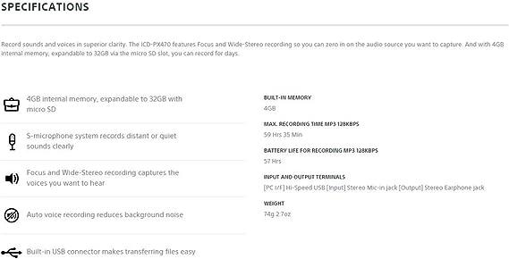 Sony Icd Px470 M Professional 4 Gb Digital Voice Elektronik