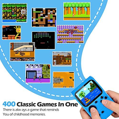 Kiztoys Console di Gioco Portatile Videogiochi Portatili con 400 Giochi Classici Schermo a Colori da 3 Pollici per 2 Giocatori Supporto TV Console per Giochi Portatili 6 Ore+ per Bambini Adulti