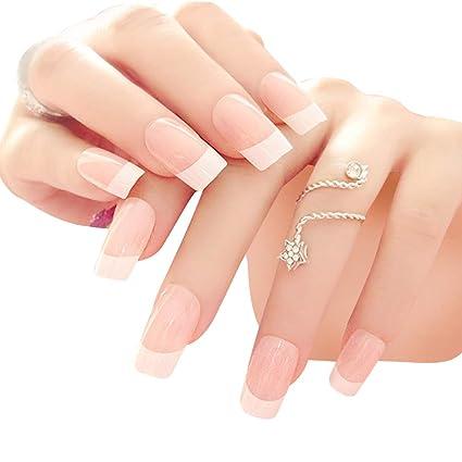 24 puntas de uñas acrílicas de estilo francés, uñas postizas ...