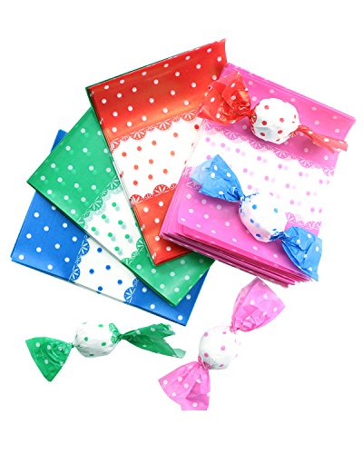 PRALB 400PCS Four Color Lovely Printed Wax Paper For Baking Nougat Candy Wrapping Paper, Chocolate Candy Wrappers, Greaseproof Wax Paper Homemade Candy Wrapper ()