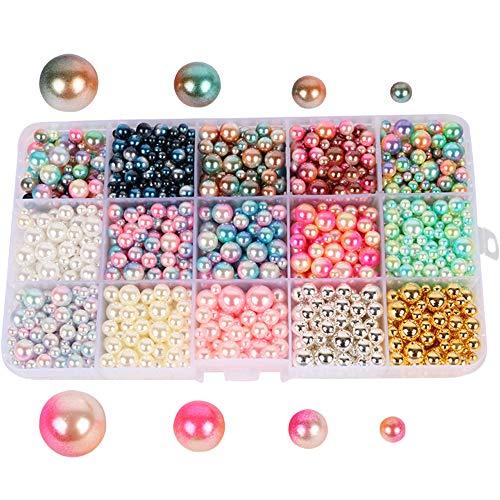 Beads 1140pcs/lot Mix Rainbow Color Round 4/6/8/10mm Imitation Pearl No Holes (Style 1)