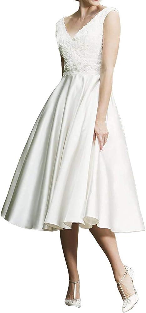 SongSurpriseMall Vintage Brautkleider Hochzeitskleid V-Ausschnitt Brautmode Damen Knielang