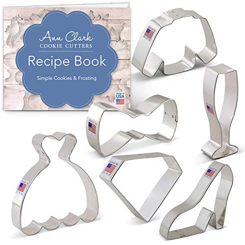 Black Tie/New Year's Party Cookie Cutter Set with Recipe Booklet- 6 piece - Ann Clark - US Tin Plated Steel]()
