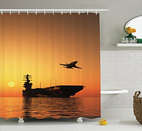 Ambesonne War Home Decor Shower Curtain by, Military Aircraft Jet and Armed Ship the Sea at Sunset Horizon Dramatic Theme, Fabric Bathroom Decor Set with Hooks, 70 Inches, Orange