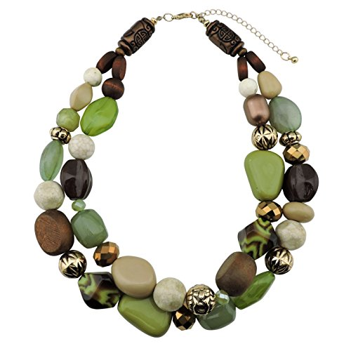Chunky Wood Bead (BOCAR 2 Layer Statement Chunky Green Beaded Fashion Necklace for Women Gifts (NK-10384-olive))