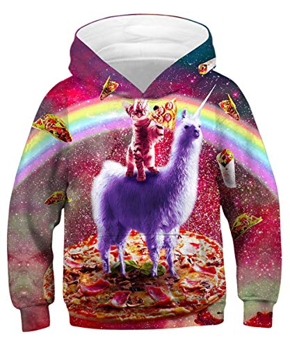 (GLUDEAR Kids Unisex Galaxy Animals Sweatshirts Pocket Pullover Hoodies 4-16Y,Nebula Alpaca,11-13)