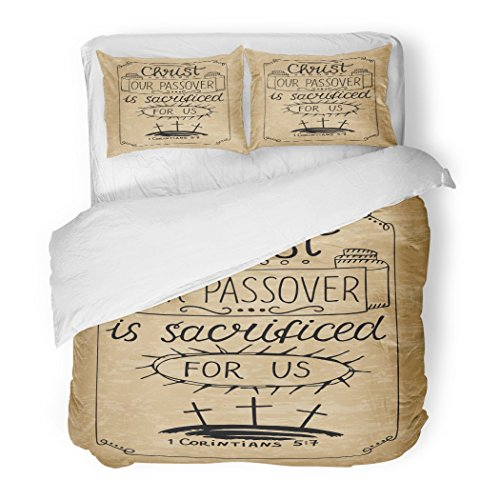 SanChic Duvet Cover Set Hand Lettering Christ Our Passover was Crucified Us Biblical Christian Calvary The Three Crosses Decorative Bedding Set Pillow Sham Twin Size by SanChic
