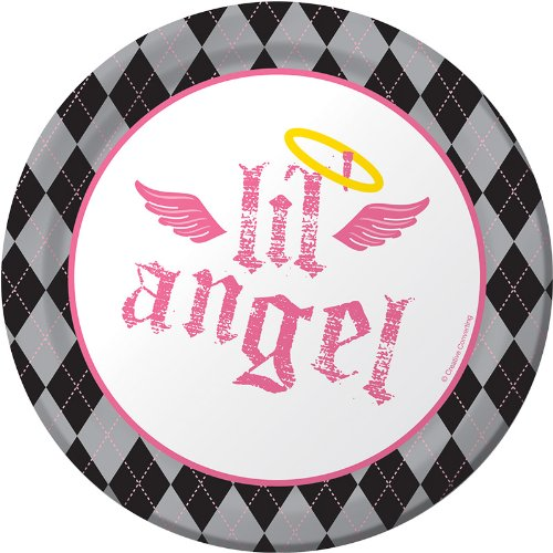 [8-Count Round Paper Dessert Plates, Angel Birthday] (Angel Food Cake Costume)