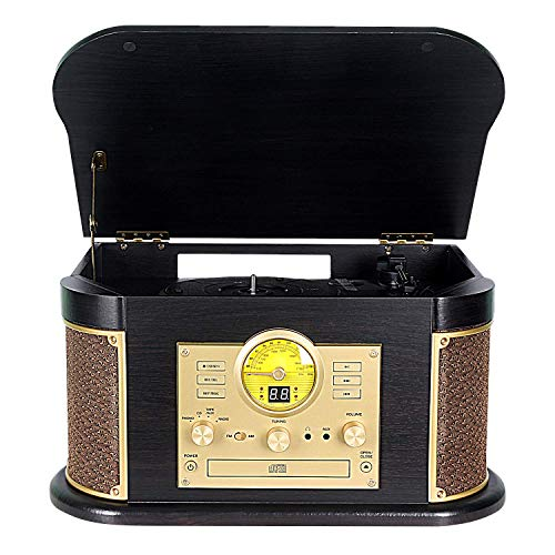 Record Player,Phonographs DLITIME 3-Speed Vinyl Turntable Built-in 2 Bluetooth Speakers, Headphone Jack/Aux In/RCA/LED/USB/MP3/CD/CASSETTE/FM/AM Radio Player