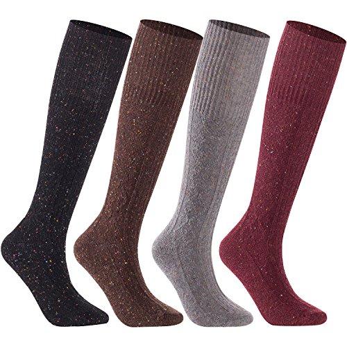 Lian LifeStyle Women's 4 Pairs Pack High Crew Wool Socks Size 7-9 4 Colors (Wine,Gray,Black,Coffee)