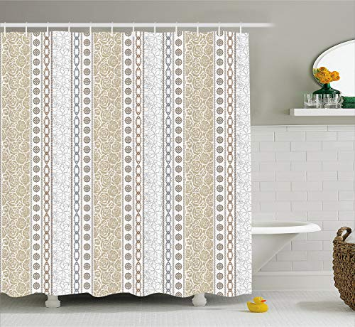 Ambesonne Rose Shower Curtain, Vintage Vertical Borders with Abstract Blossoms and Classical Victorian Motifs, Cloth Fabric Bathroom Decor Set with Hooks, 75