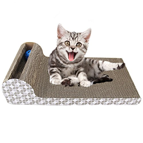 No Scratch Cat Scratching Post (PetEnjoy Cat Scratching Post Kitty Scratch Pad Pet Scratcher Cardboard Lounge Bed Puppy Dog Toys with Cat Bell(Bed))