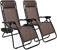 Best Choice Products Set of 2 Adjustable Steel Mesh Zero Gravity Lounge Chair Recliners w/Pillows and Cup Hold