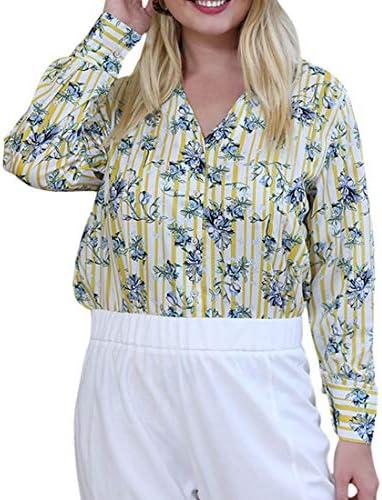 レディースラペルボタンダウンプラスサイズファッションバギーロングスリーブTシャツトップブラウス