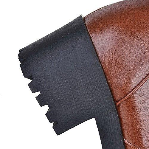 AllhqFashion Mujeres Puntera Redonda Caña Media Tacón Grueso Sólido Botas con Ornamento Metal Marrón