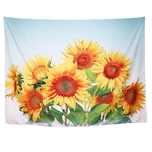 Zeronal Flower Tapestry Wall Hanging Vivide Sunflower Light-Weight Polyester Fabric Wall Decor 59