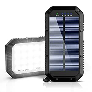 Solar Charger, Ayyie 25000mAh Solar Power Bank, 3-Port Output & 36 LED Light Solar Phone Charger, Fast Charger Technology External Battery Pack for iPhone ipad Tablet Samsung HTC Android Phone
