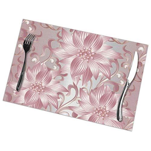 Dingl - Manteles individuales con diseno de hojas en barroco, estilo victoriano, lavable, antideslizante, para cocina, mesa de comedor, facil de limpiar, 30,5 x 45,7 cm, juego de 6