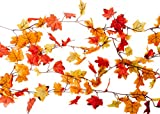 CraftMore 24 Feet of Garland Fall Decoration Value Pack - Pack of 4 6 Foot Garlands - Orange Red and Yellow Leaves