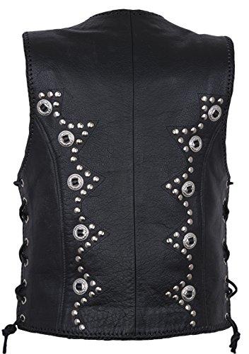 Noir des cuir Veste clous Medium Gilet femmes Biker en avec qw8nRp
