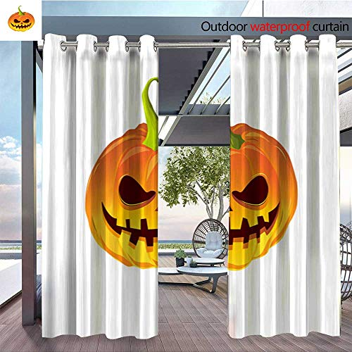 Exterior/Outside Curtains Cartoon Pumpkin for The Holiday Happy Halloween Vector illustration2 for Patio Light Block Heat Out Water Proof Drape W72 x L96/Pair ()