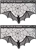 ANPHSIN 2 Pieces Halloween Decoration Lace Cobweb Bats Fireplace Mantels Valances Covers