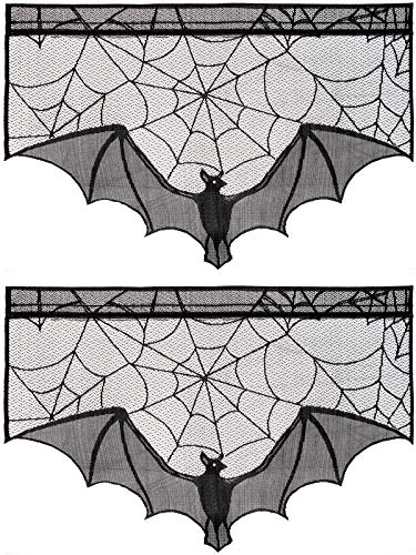 ANPHSIN 2 Pieces April Fools' Day Halloween Decoration Lace Cobweb Bats Fireplace Mantels Valances Covers