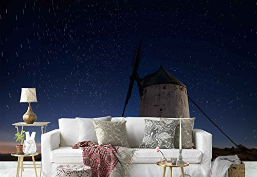 Photo wallpaper wall mural - Windmills Row Dusk Starry Sky - Theme Travel & Maps - XL - 12ft x 8ft 4in (WxH) - 4 Pieces - Printed on 130gsm Non-Woven Paper - 1X-38454V8 by Fotowalls Photo Wallpaper Murals