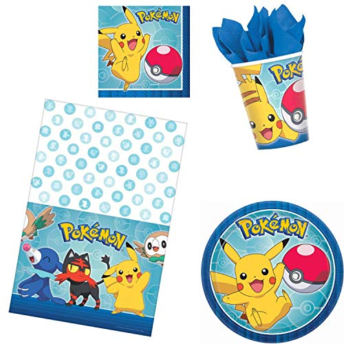 Pokemon Birthday Party Supplies Bundle 50 Pieces with Party Planning eBook | Pack for 16 Guests Includes Plates, Napkins, Cups and Table Cover (Basic)