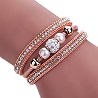 AutumnFall Women Bohemian Bracelet Woven Braided Handmade Wrap Cuff Magnetic Clasp (Pink)