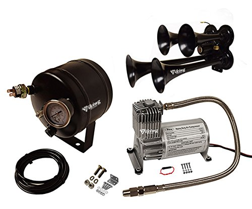 Viking Horns V107C-2//4008B Loud 144 Decibels 4 Trumpet Black Metal Air Horn Kit