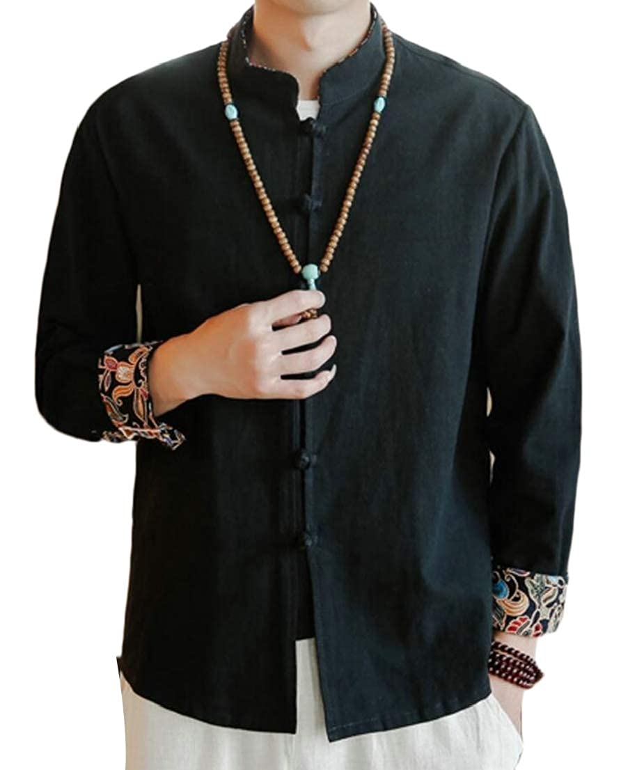 GenericMen Fashion Cotton Linen Frog-Button Chinese Traditional Loose Shirt Coat