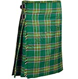 Green Plaid Men's 5 Yard Scottish Kilts Tartan Kilt 13oz Highland Casual Kilt (30'')
