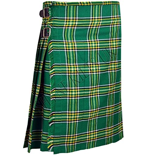 Green Plaid Men's 5 Yard Scottish Kilts Tartan Kilt 13oz Highland Casual Kilt (30'') by SHYNE