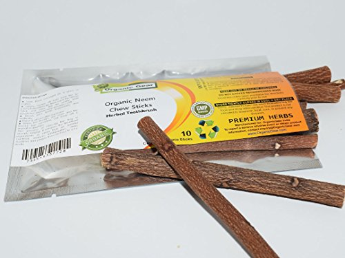 Organic Gear Herbal Neem Toothbrush Chew Sticks Natural Wild Organic Traditional Teeth Cleaning Twig Prevent Tooth Decay And Gum Disease. [10 Sticks] ()