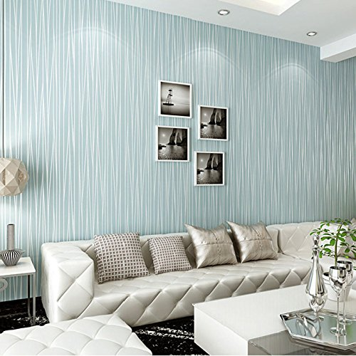 QIHANG Non-Woven Classic Flocking Plain Stripe Modern Fashion Wallpaper Wall Paper Roll for Living Room Bedroom Light Blue Color 0.53m x 10m=5.3㎡