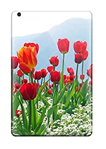 Best Perfect Tpu Case For Ipad Mini 2/ Anti-scratch Protector Case (tulips Flower Plantation)