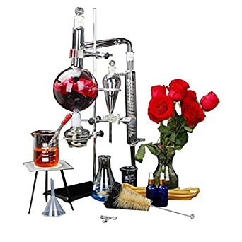 1000ML Water Distiller Essential Oil Distiller Chemistry Distillation kit with Condenser Pipe Flask and Heater for Home Industrial Science Teaching