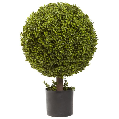 Nearly Natural 5919 Boxwood Ball Topiary, 27-Inch, Green Boxwood Ball Topiary