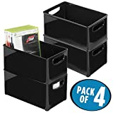 mDesign Household Storage Bin for DVDs, PS4 and Xbox Video Games - Pack of 4, Medium, Black