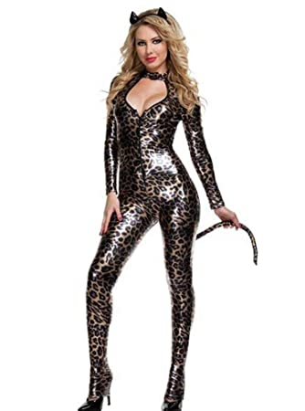 Yeniya Mujer Sexy Catsuit Cuero Estampado Leopardo Uniforme ...