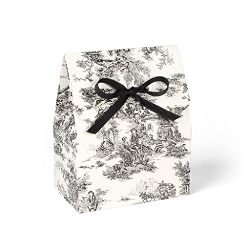Black and Ivory Toile Favor Boxes with Black Grosgrain Ribbon//set of 8