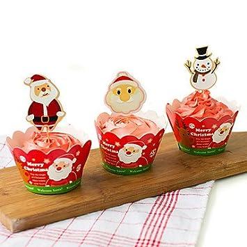 Erica Papá Noel y muñeco de nieve para juego de moldes de repostería para niños vasos de papel de navidad (12 surrounding borde + 12 Insertar tarjeta): ...