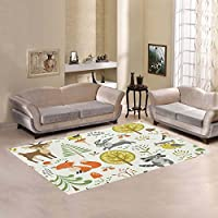 Custom Forest Animal Green Area Rugs Carpet 7 x 5 Feet, Fox Deer Tree Modern Carpet Floor Rugs Mat for Children Kids Home Living Dining Room Playroom Decoration