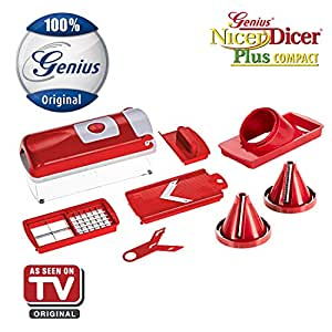 nicer dicer plus compact spiral slicer by genius 8 pieces red fruit and. Black Bedroom Furniture Sets. Home Design Ideas