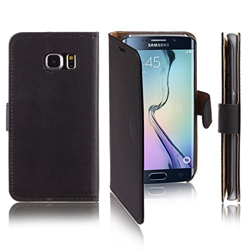 Xcessor Flip Open Leather PU Plastic Case for Samsung Galaxy S6 edge SM-G925F. Wallet Portfolio Stand With Magnetic Close System. Black