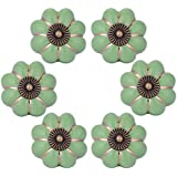 WOLFTEETH Green Pumpkin Knobs Vintage Ceramic Pulls Kitchen Cabinet  Dressing Table Dresser Handle 6pcs